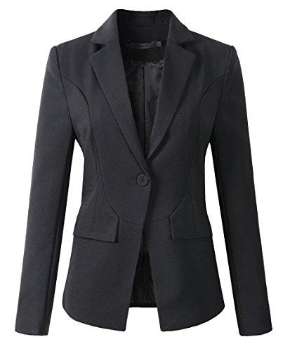 Womens Formal One Button Boyfriend Blazer Jacket (1513 Black, S)