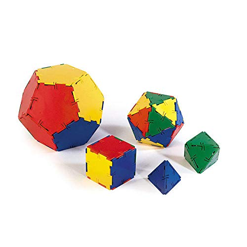 Polydron Multi-Colored Plastic Geometric Platonic Solids and Shapes (Set of 50)