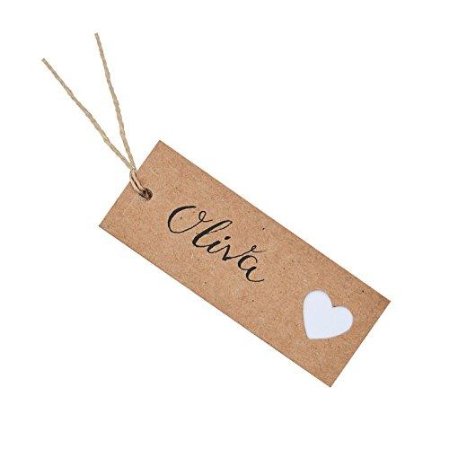 Blanco geschenkhanger in bruin - vintage met wit hart/tafeldecoratie vintage stijl/tafelorde/decoratie verjaardag & bruiloft/gedekte tafel/plaatskaart/naambord