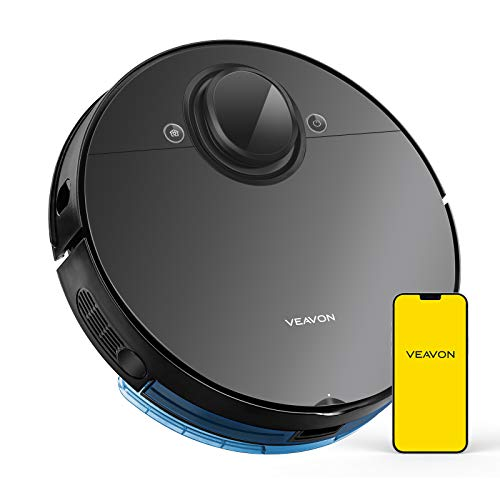 VEAVON Robot Vacuum, V8 Robotic Vacuum Cleaner Smart Mapping 4000Pa Strong Suction Lidar Navigation Wi-Fi Connected 5200mAh Sweeping and Mopping for Pet Hair, Carpet, Hardwood Floor, Black