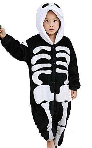 emmarcon Kigurumi Pigiami Animali da Bimbi Bambini Tuta Costume Carnevale Halloween Festa Cosplay unisex-130/altezza 125-135-Scheletro/130
