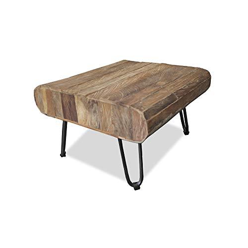 MÖBEL IDEAL Couchtisch aus massivem Teak/Teakholz im rustikalen Design Tisch - 38 x 60 x 60 cm - Beistelltisch in Braun Massivholz