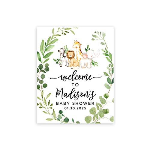 Andaz Press Custom Large Baby Shower Canvas Welcome Sign, 16 x 20 Inches, Baby Safari Animals Leaf Foliage, Guestbook Alternative, Personalized Sign Our Canvas, for Jungle Safari Baby Shower Theme