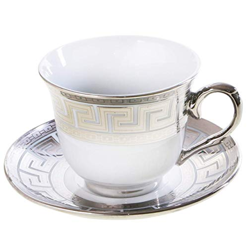 Porzellan Kaffeetassen Set 13-Tlg Cappuccino Tassen Latte Macchiato Kaffeebecher Silber Gold Farbe Silber   z1431