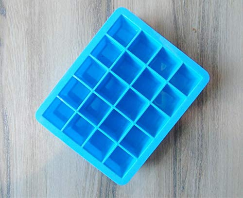 Coner Ice Cube Mold Siliconen Chocolade-ijs Jelly Candy Puddingvorm Ladehouder met deksel Easy Release 20 Grid, blauwGeen deksel