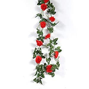 yuanyuxi Decorative Flower Vine Home Artificial Flower Rose Vine Living Room Balcony Decoration Fake Flower Rattan@10 Rhododendron Vines – Red