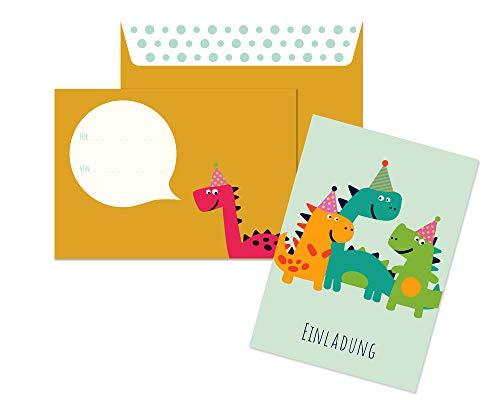Friendly Fox Einladung Dino - 12 Einladungskarten Dinosaurier zum Kindergeburtstag Junge Mädchen - witzige Einladungskarten Geburtstag - Geburtstagskarte Dino (Mint)