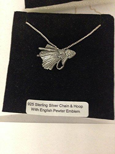 Fishing Fly R89 - Emblema de peltre inglés en un collar de plata de ley 925 de 20 pulgadas