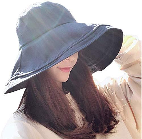 MAKFORT Chapeau de plage femme Chapeau d'été pliable à large bord Capeline Plage Chapeau de seau chapeau de jardin SPF UPF50,Bleu Marine, Taille Unique