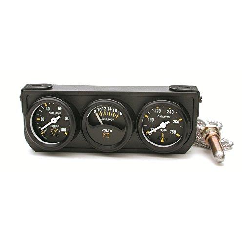 AUTO METER 2396 Autogage Mechanical Mini Oil/Volt/Water Gauge with Black Console Autometer Autogage Mechanical Oil