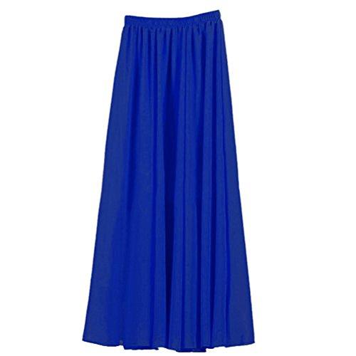Nlife Frauen-Doppelte Schicht Chiffon- gefalteter Retro- langer Maxi Rock-elastischer Taillen-Rock, 100cm, Farbe: Blue