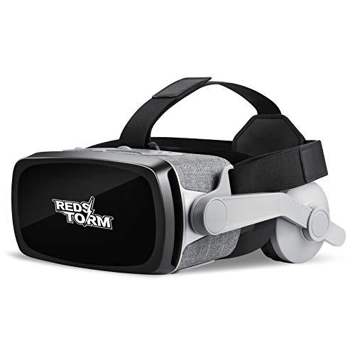 REDSTORM Gafas de Realidad Virtual, Gafas 3D VR, para Juegos Inmersivos en Películas 3D con Visión Panorámica de 360 Grados, para Teléfonos Móviles de 4 a 6 Pulgadas,con Auriculares