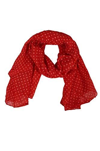 Zwillingsherz Seiden-Tuch im Punkte Design - Hochwertiger Schal für Damen Mädchen - Halstuch - Umschlagstuch - Loop - weicher Schlauchschal für Frühjahr Sommer Herbst und Winter - rot