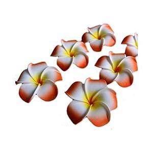 Dream-catching Dresses 10Pcs/lot Plumeria Hawaiian PE Foam Frangipani Artificial Flower Headdress Flowers Egg Flowers Wedding Decoration Party Supplies-A03-Orange-6cm