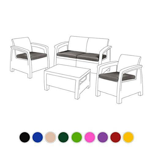 Gardenista Almohadillas de Cojines para Muebles de Rattan | Cojines de Jardín | Almohadilla de Sillas de Patio Agua Resistente | Ligero y Durable | 4 Piezas (Gris)