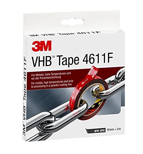 3M Nastri Adesivi Vhb ad Ottima Resistenza 4611 - Progettato Per Creare Fissaggi Duraturi E Affidabili Per Incollaggi Multimateriali E Ad Alte Temperature - 19Mm X 3M, Grigio, 1.1Mm (1 Pezzo)