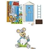 El ratón mágico azul + hucha infantil + tarjeta de felicitación (versión francesa) (azul)