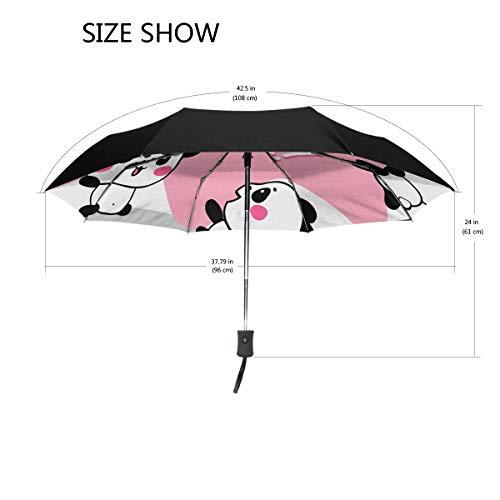 Ieararfre Regenschirm, niedliche Pandas, dreifach faltbar, winddicht, ergonomischer Griff, verstärkter Baldachin, automatisches Öffnen/Schließen, mehrere Farben