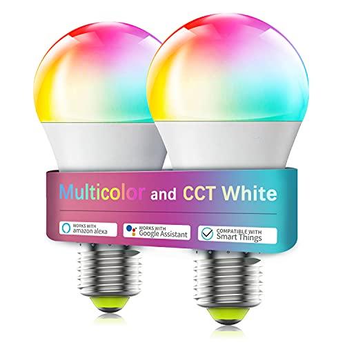 WiFi スマート LED電球 カラフル 電球色&昼光色 アレクサ対応 目覚め タイマー機能 ワイヤレス 調光モードライト 非常灯 玄関灯 E26口金 60W相当 2個セット