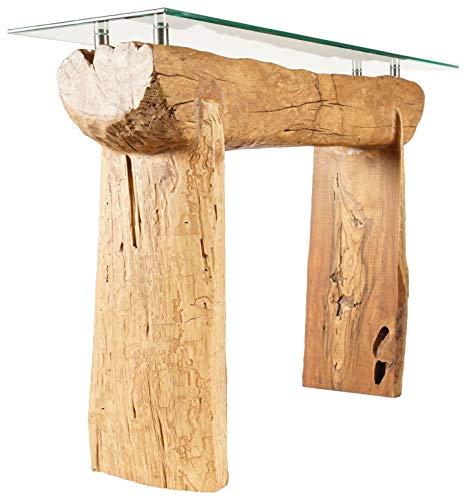 Windalf antieke vintage sideboard met glas OROTHRUIN 110 cm natuur dressoir teak houten tafel handgemaakt van wortelhout