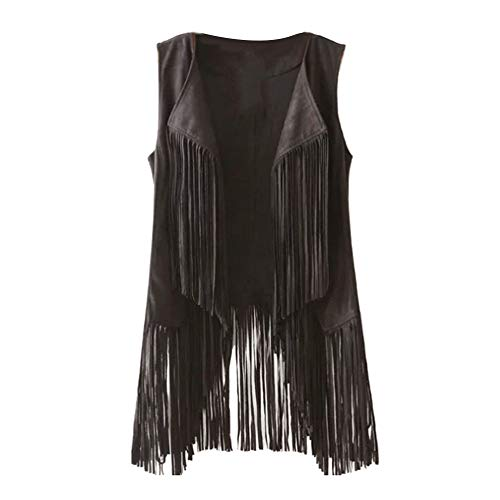 H2okp-009 Chic Vrouwen Mouwloos Effen Kleur Faux Suede Tassels Vest Waistcoat Dunne Jas Eenvoudige Casual