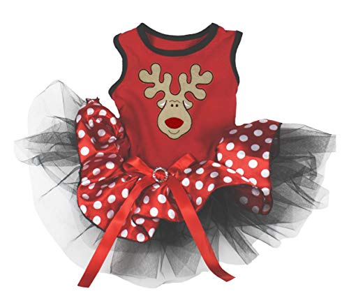 Petitebella Reindeer Face Puppy Dog Dress (Red/Polka Dots, Small)