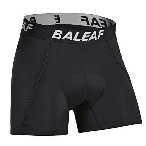 BALEAF Męskie krótkie spodenki rowerowe z wkładką do siedzenia, spodenki rowerowe do sportów rowerowych, czarne, L