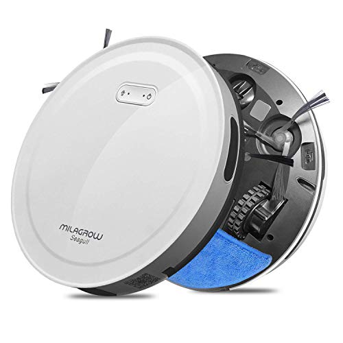 Milagrow Seagull – 2 Yr Warranty Robot Vacuum Cleaner, 5 yr Japanese Motor Warranty, 1500Pa Autoboost Suction, Mapping, Wet Mop Without Watertank, Scheduling, Self Charge, 3Stage Cleaning, APP(White)