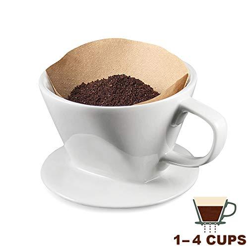 TGetWorth Kaffeefilter Porzellan größe 4 Tassen,Filter Handfilter Kaffeefilter Dauerfilter für 2-4 Tassen, Weiß Permanent Kaffeefilter