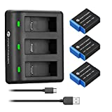 FirstPower Hero 9 Replacement Battery 3-Pack 2000mAh and 3-Channel USB Charger with Type-C Cord for GoPro Hero 9 Black