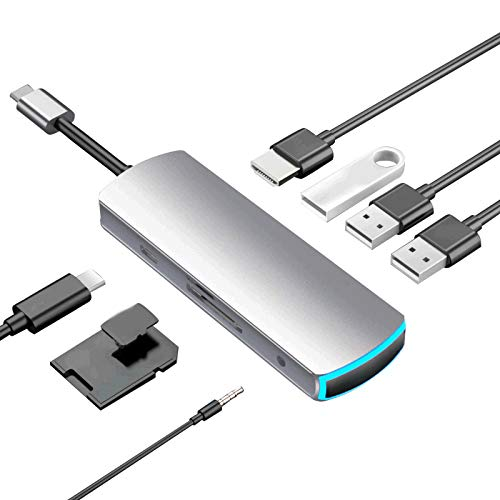 8 en 1 Divisor USB 3.0 Multifuncional USB C Expansión HUB Tipo-c Adaptador 3 USB 3.0 SD/TF Lector de tarjetas 4K HD-MI Adaptador 3.5mm Puerto de audio para Apple MacBook