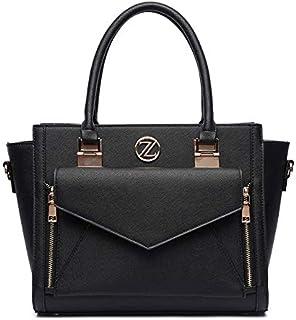 Zeneve London Annie Satchel Bag for Women - Black