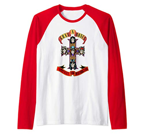 Guns N' Roses Official Cross Red and White Raglan Baseball Tee, Grey and Black also available. Up to 2XL