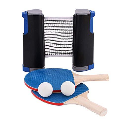Instant Table Tennis Set - 1 Rejilla Retráctil para Tenis De Mesa + 2 Palas De Ping Pong + 6 Bolas, Juego Portátil De Ping Pong para Escuela, Hogar, Viajes