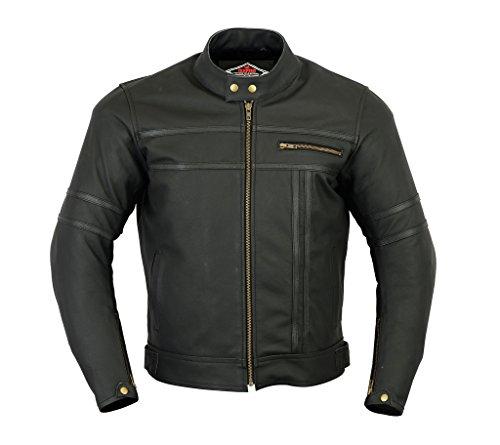 Texpeed - Giacca da uomo in pelle per motociclismo e racing - due tonalità di nero - XL - 111cm