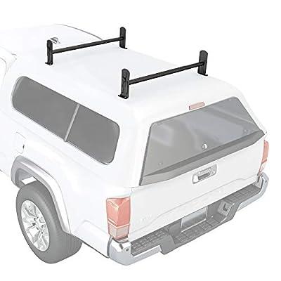 AA Products Inc. AA-Racks Model DX36 Universal Pickup Truck Cap & Topper 2 Bar Ladder Roof Van Rack System Adjustable Steel Cross Bars - Sandy Black