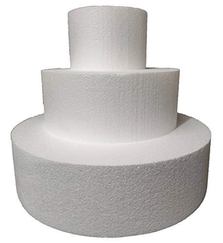 Juego de 3 pisos de poliestireno, disco redondo de poliestireno, diámetro 15-25-35 cm, altura 10 cm, para tartas falsas cumpleaños, bautizos, nacimientos, comuniones, fiestas en género