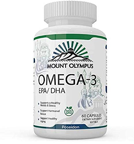 Mount Olympus Omega 3 Supplement – Organic Fish Oil Softgel Capsules – Natural Omega 3 and DHA/EPA Dietary Supplement – Mood Booster and Stress Reliever – Non-GMO Formula – 60 Soft Capsules