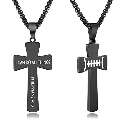 XIEXIELA USA Football Cross Necklace for Boys.I CAN DO All Things Strength Bible Verse Rugby Ball Athletes Sports Lover Black