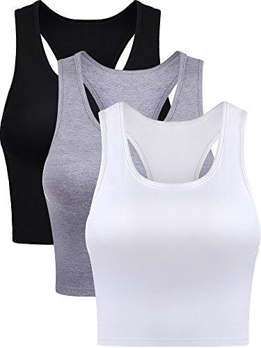 Damen Crop Tank Top Baumwolle Basic Ärmellos Racerback Kurz Sport Crop Top für Damen Mädchen Tägliches Tragen (Farbe Set 1, Klein)