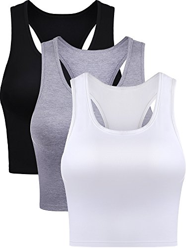 Boao 3 Pieces Women's Cotton Basic Sleeveless Racerback Crop Tank Top Sports Crop Top for Daily Wearing (Black, White, Grey, Small)