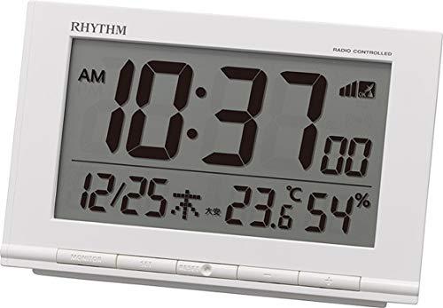 リズム(RHYTHM) 目覚まし時計 電波時計 温度計・湿度計付き フィットウェーブD193 白 9.3×14.5×4.1cm 8RZ193SR03