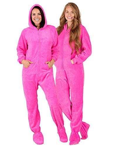 Footed Pajamas - Perfect Pink Adult Hoodie Chenille Onesie (Adult - Small2X/Dbl Wide (Fits 5'3-5'6'))