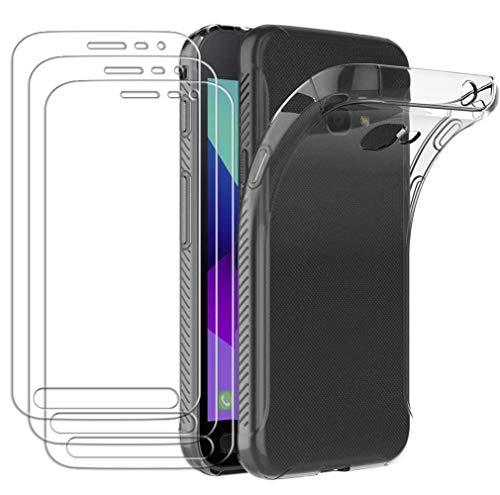 ivoler Hülle für Samsung Galaxy Xcover 4S / Xcover 4, mit 3 Stück Panzerglas Schutzfolie, Dünne Weiche TPU Silikon Transparent Stoßfest Schutzhülle Durchsichtige Handyhülle Kratzfest Hülle