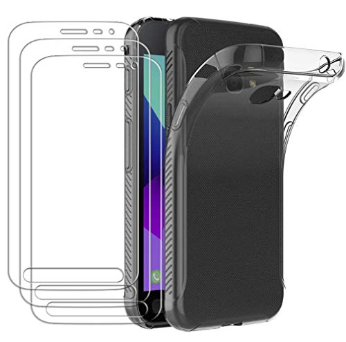 ivoler Hülle für Samsung Galaxy Xcover 4S / Xcover 4 + [3 Stück] Panzerglas, Transparent Silikon TPU Schutzhülle Handyhülle Case Premium 9H Hartglas Schutzfolie Glas für Samsung Xcover 4S / Xcover 4