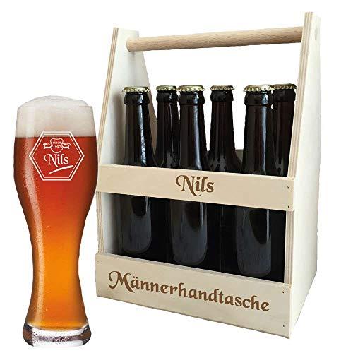 Bierträger + Weizenbierglas (Leonardo) im Set - mit kostenloser Gravur (B2) - EIN besonderes Geburtstagsgeschenk | Männergeschenke | Vatertagsgeschenke