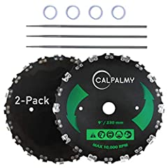 "9'' Chainsaw Tooth Steel Brush Cutter Replacement Blades: Fit most of the gas or electric trimmers (Straight shaft trimmers only) with 9'' X 1"" arbor, for brands - Husqvarna/ Stihl/Ego/ Oregon/ Hitachi – guaranteed to fit! 4 Bonus Washers and 3 Round..."