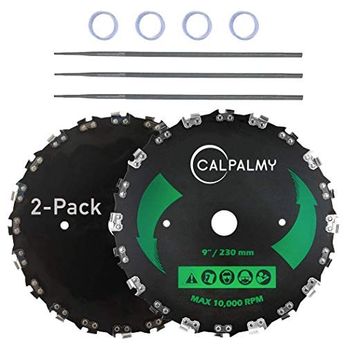 (2-Set) 9' x 20T Chainsaw Tooth Brush Blades – 2 Blades, 3 Assorted Round Files (5/32'', 3/16'', 11/64'') and 4 Washers | For Cutter, Trimmer, Weed Eater | Made from Carbon Steel, Cuts Like Butter