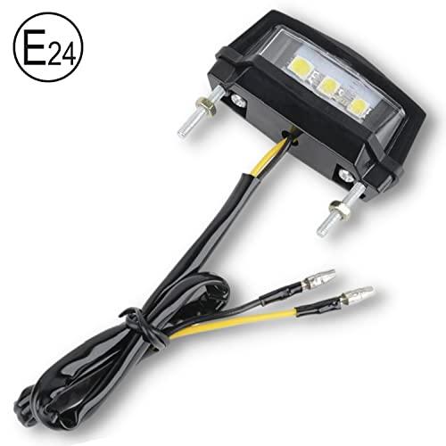 Binego Motorrad Quad LED Kennzeichenbeleuchtung E Geprüft Nummernschildbeleuchtung Mini Weiß Klar ATV E24 ABE TÜV 12V