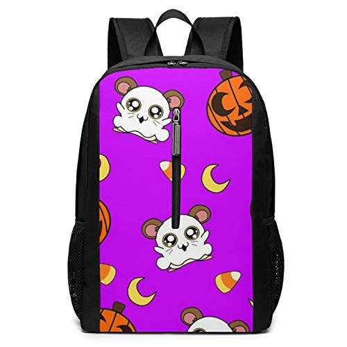 Hamtaro Halloween Laptop Backpacks for Women Men 17 Inch Large Travel Cool College Black Schoolbag